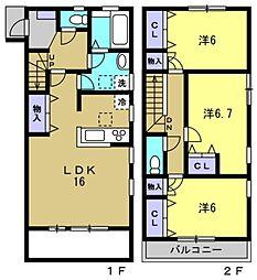 グレイス芦屋 1階3LDKの間取り