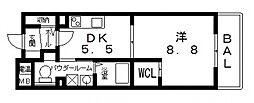 我楽ハウス[402号室号室]の間取り