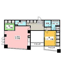 愛知県名古屋市東区葵1丁目の賃貸マンションの間取り