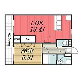 JR総武本線 八街駅 徒歩10分の賃貸マンション 2階1LDKの間取り