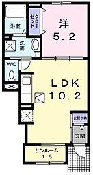 JR青梅線 小作駅 徒歩11分の賃貸アパート 1階1LDKの間取り