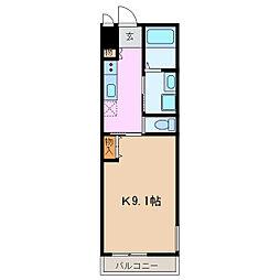 カーサアリエッタ 2階1Kの間取り