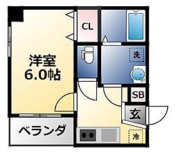 MESSAGE新今里 4階1Kの間取り