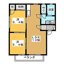 ディアス京町 A[2階]の間取り