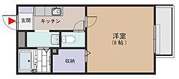 大阪府大阪市平野区瓜破西1丁目の賃貸アパートの間取り