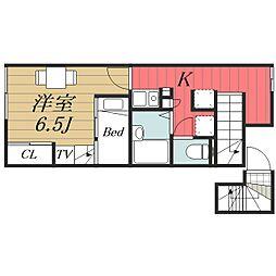 JR成田線 成田駅 バス15分 七栄三叉路下車 徒歩8分の賃貸アパート 2階1Kの間取り