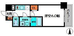 エスリード新福島 4階1Kの間取り