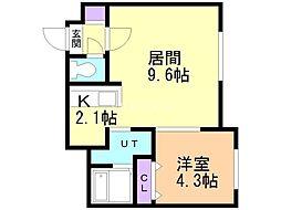 メニーズコート栄町プレミア 1階1LDKの間取り