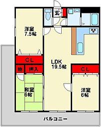 セントレージュ引野[2階]の間取り