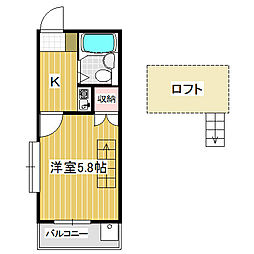 愛知県名古屋市中川区野田2丁目の賃貸アパートの間取り