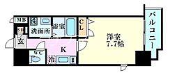 Osaka Metro堺筋線 南森町駅 徒歩7分の賃貸マンション 4階1Kの間取り