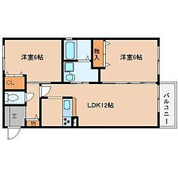 近鉄大阪線 桜井駅 徒歩19分の賃貸アパート 2階2LDKの間取り