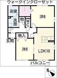 パピルスB棟[1階]の間取り