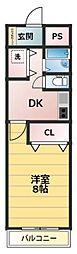 笹本マンション 3階1DKの間取り