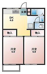 シルクハイツA・B[2階]の間取り