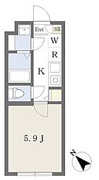東京メトロ東西線 行徳駅 徒歩8分の賃貸マンション 1階1Kの間取り
