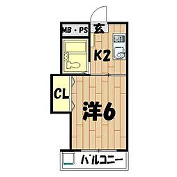 メゾンマキガハラ[1階]の間取り