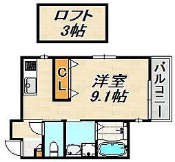 Bow Long Kamisawa 2階ワンルームの間取り