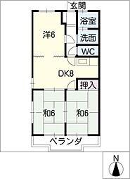 ガーデンハイツ長島B棟[2階]の間取り