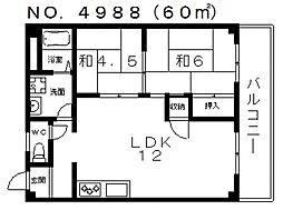 グランドール天王寺[4階]の間取り