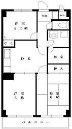 カトルズ中田II(カトルズナカタ2)[1階]の間取り