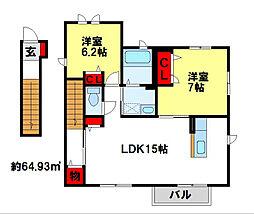 第IIIコンフォートハウス[C201号室]の間取り