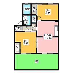 コーポラス港 A[1階]の間取り