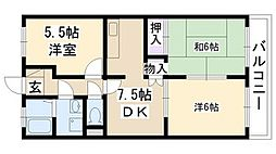 大阪府摂津市鳥飼西5丁目の賃貸マンションの間取り