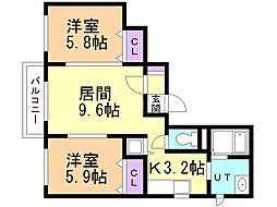 大白桜55 3階2LDKの間取り