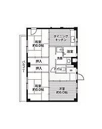 ビレッジハウス亀井野[4階]の間取り