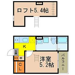 愛知県名古屋市中川区花池町1丁目の賃貸アパートの間取り