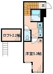 東京都大田区南雪谷1丁目の賃貸アパートの間取り