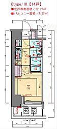 JR東海道・山陽本線 兵庫駅 徒歩3分の賃貸マンション 9階1Kの間取り