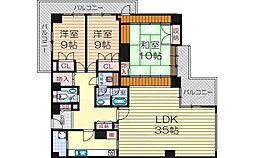 阪急神戸本線 十三駅 徒歩7分の賃貸マンション 19階3LDKの間取り