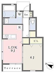 多布施アパート 1階1LDKの間取り