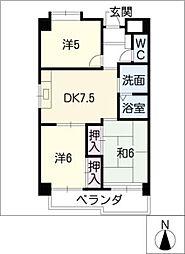 第9平與マンション[4階]の間取り