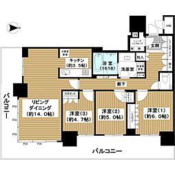 ブランズタワー梅田North 10階3LDKの間取り