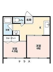 第6正田ビル[102号室]の間取り