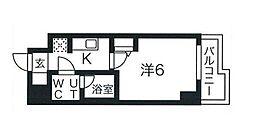 スパシエソリデ武蔵小杉 5階1Kの間取り