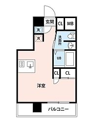 西武池袋線 所沢駅 徒歩3分の賃貸マンション 5階ワンルームの間取り