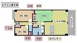 兵庫県神戸市北区大脇台8丁目の賃貸マンションの間取り
