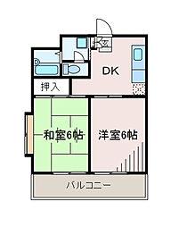 メゾンドウカテイ[2階]の間取り