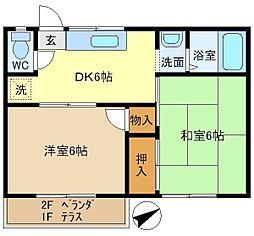 第6押田ハイツ 202[2階]の間取り
