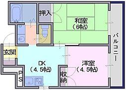 パインリーフ天理 4階2DKの間取り