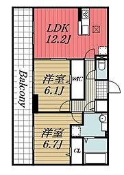 京成千原線 ちはら台駅 徒歩37分の賃貸アパート 3階2LDKの間取り