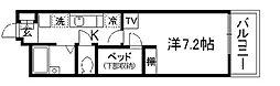 京都府京都市伏見区日野岡西町の賃貸アパートの間取り
