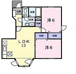 埼玉県行田市城南の賃貸アパートの間取り