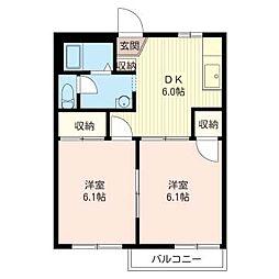 グリ−ンハウスハシモトA[1階]の間取り
