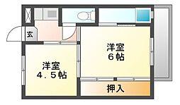 岡山県倉敷市玉島上成の賃貸マンションの間取り