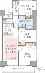 Brillia ist 東雲キャナルコート 9階2LDKの間取り